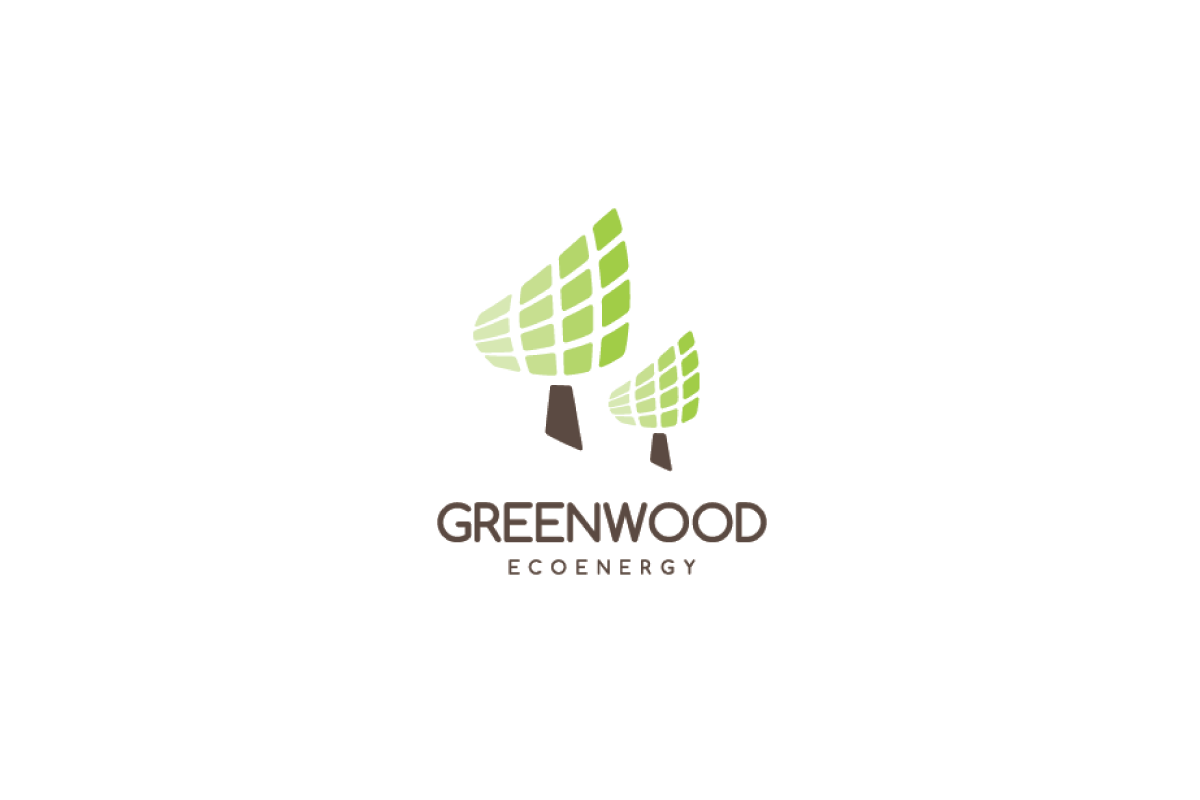 greenwood eco energy tree solar panel logo design logo