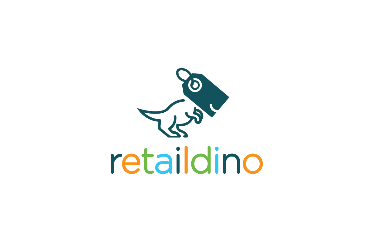retail dino price tag dinosaur logo logo cowboy
