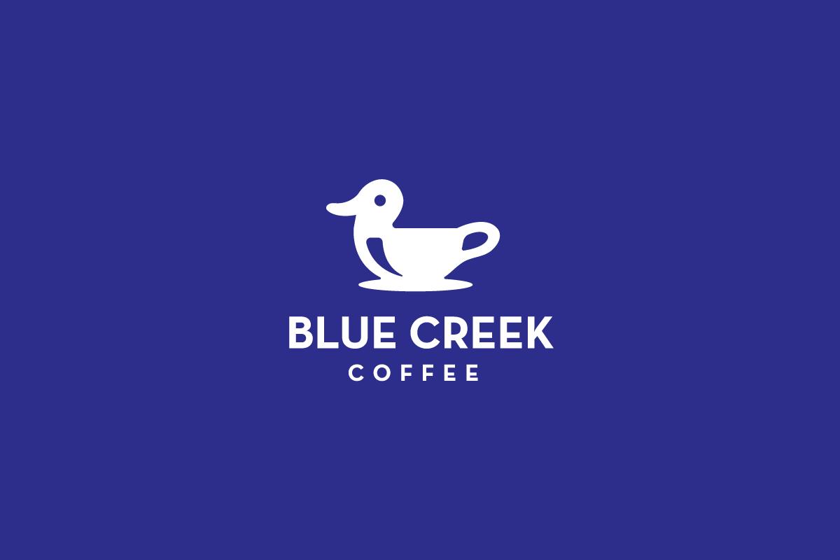 Sold blue creek coffee duck coffee mug logo design for Design lago