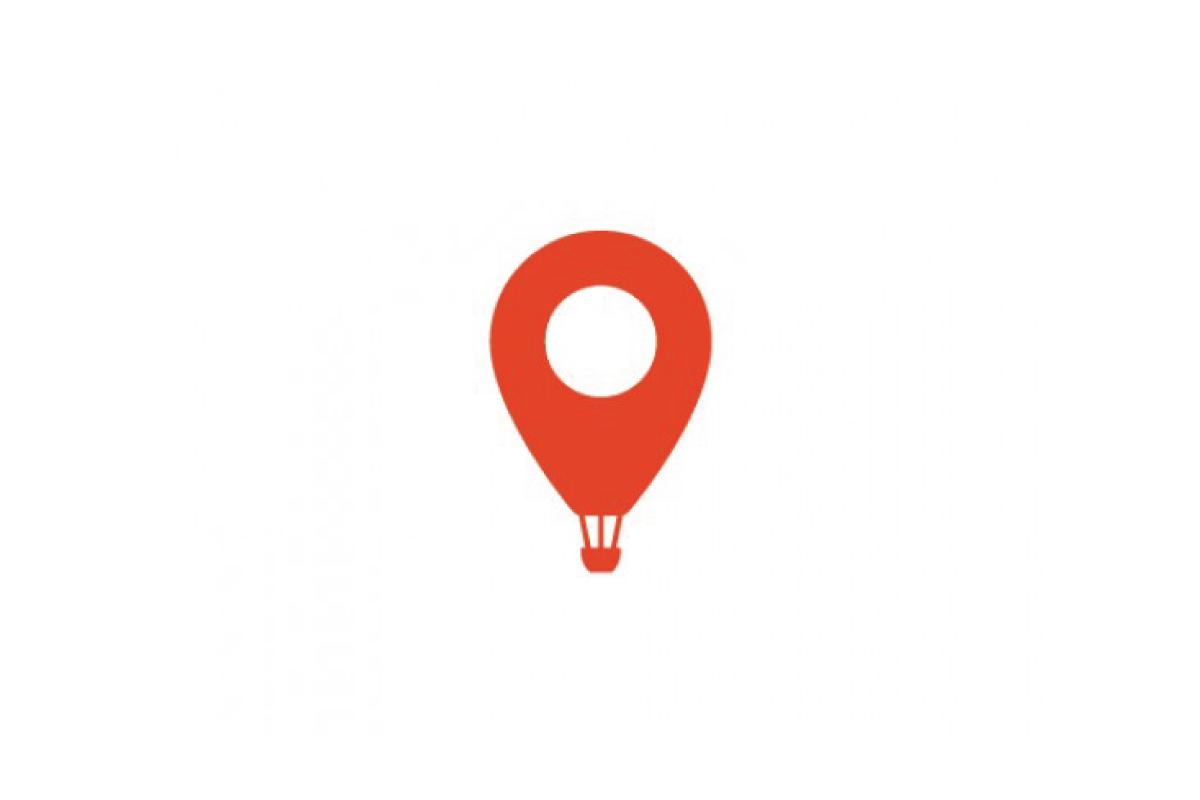 flightmap hot air balloon geo pin logo design logo cowboy