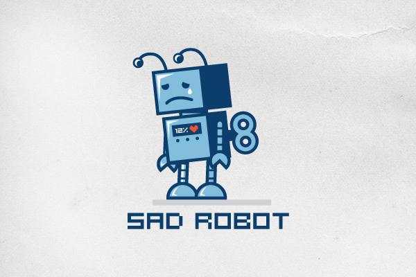 sad robot logo design logo cowboy