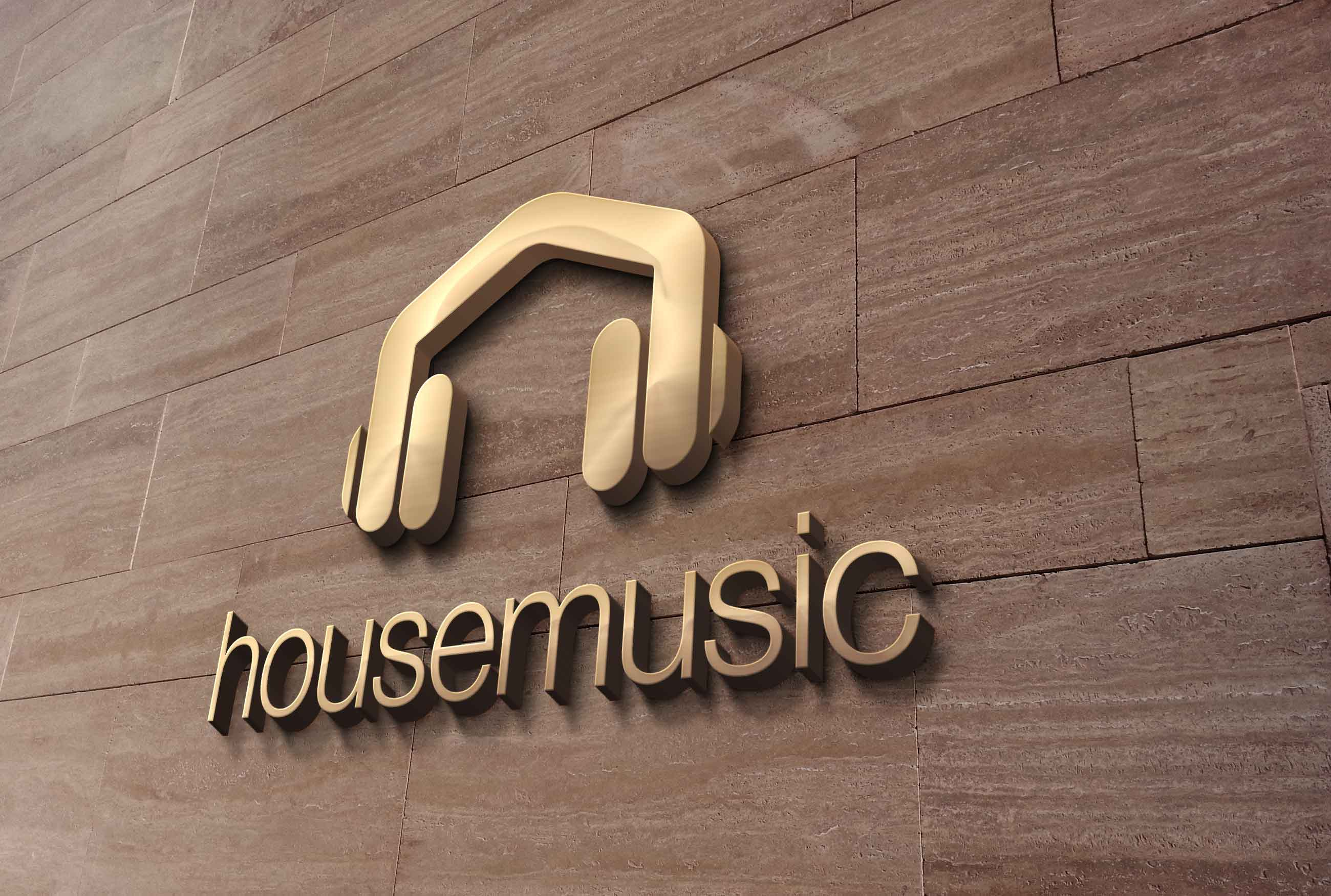 House music headphones logo design logo cowboy for House house house music