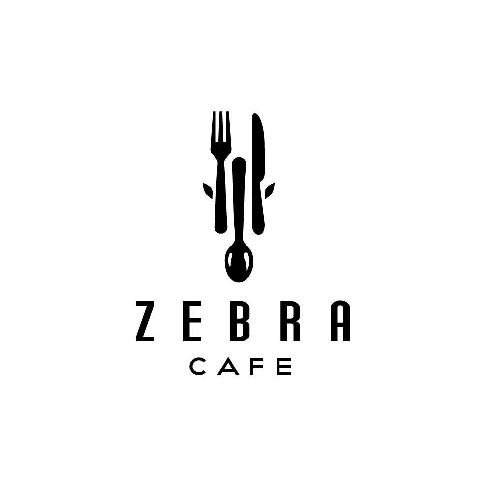 Sold Zebra Cafe Fork Spoon Knife Logo Logo Cowboy