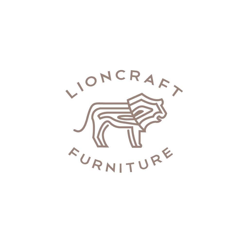 Lioncraft Furniture Lion Wood Grain Knot Logo Design