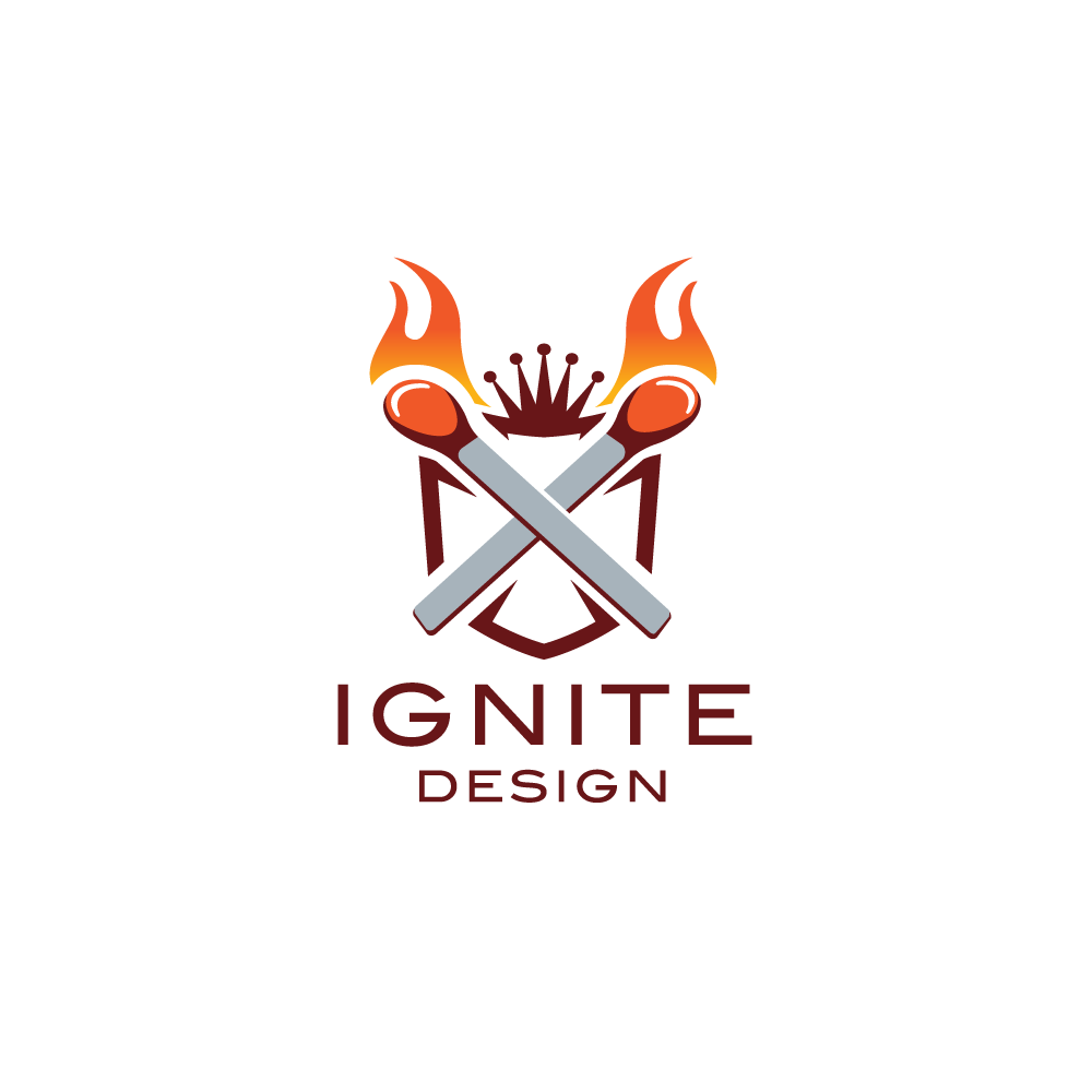 ignite lit matches and shield logo design logo cowboy. Black Bedroom Furniture Sets. Home Design Ideas