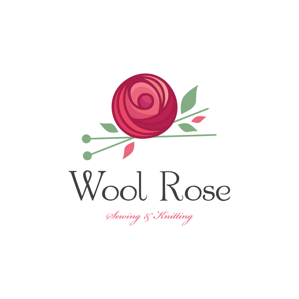 Knitting Logo Business Cards : Wool rose knitting and sewing logo design cowboy