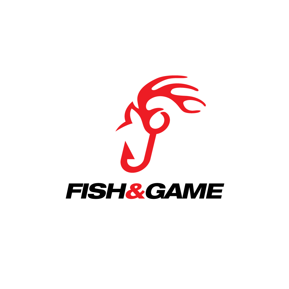 Sold fish and game buck horns and hook logo design logo for Game and fish