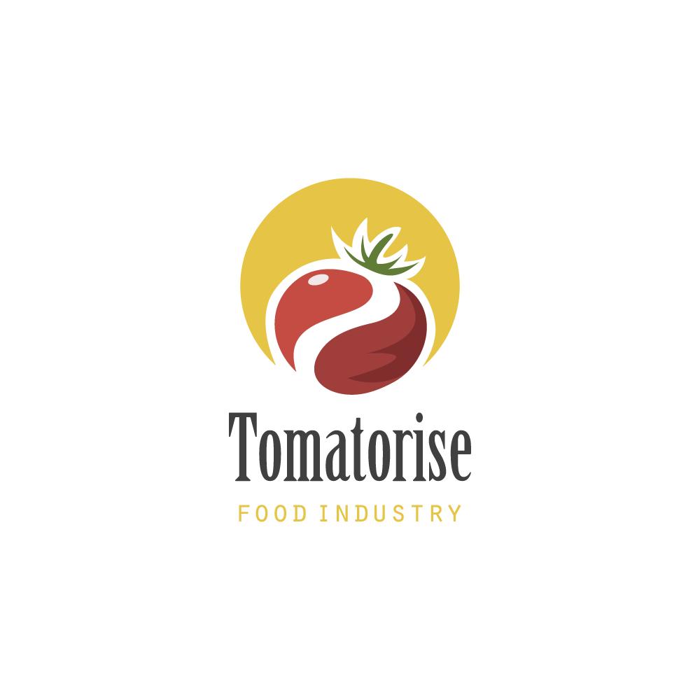 Organic Food Supermarket Logo:  Logo For Sale: Tomato Sunrise Food Industry Logo Cowboy