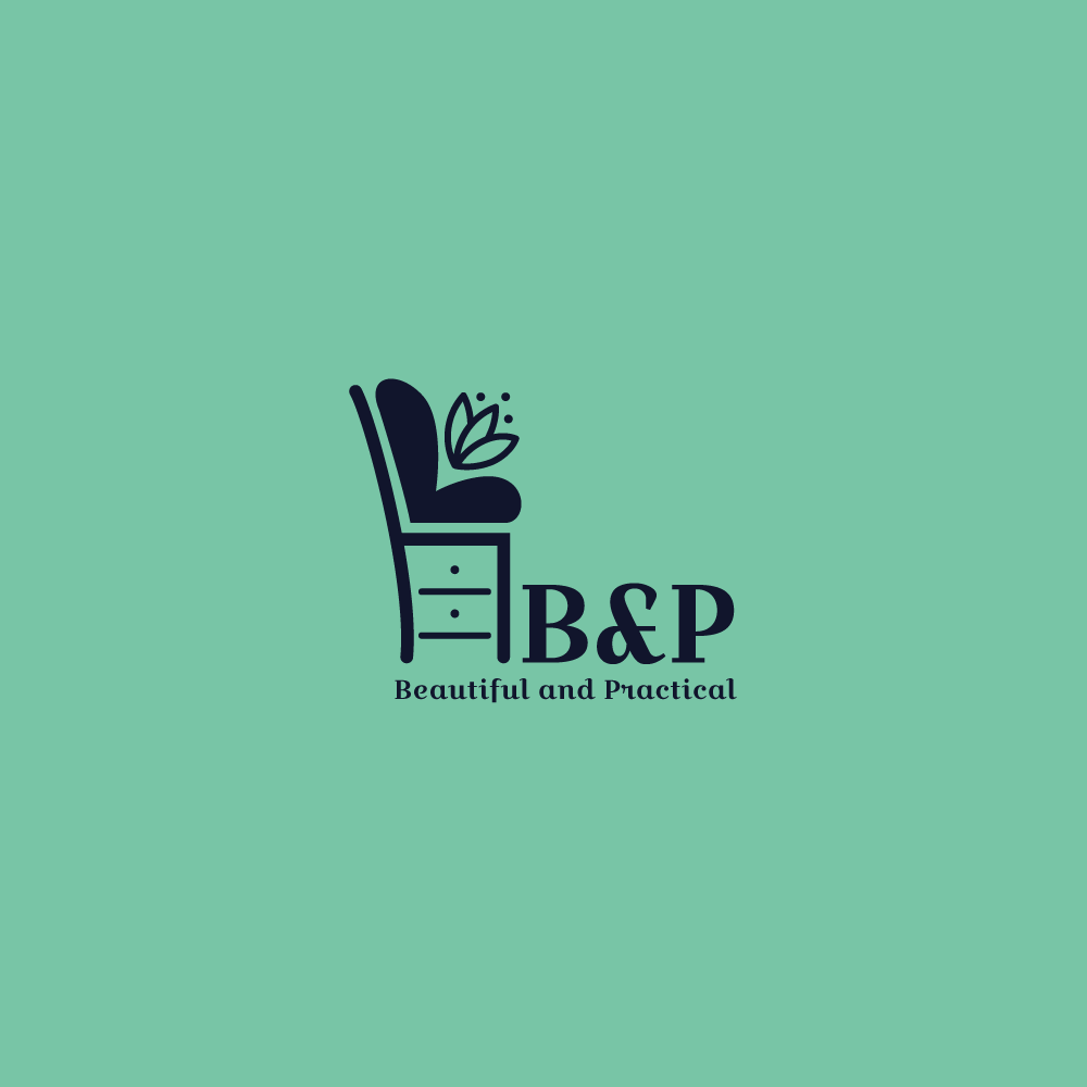 For Sale: B and P Modern Furniture Chair Logo Design | Logo Cowboy