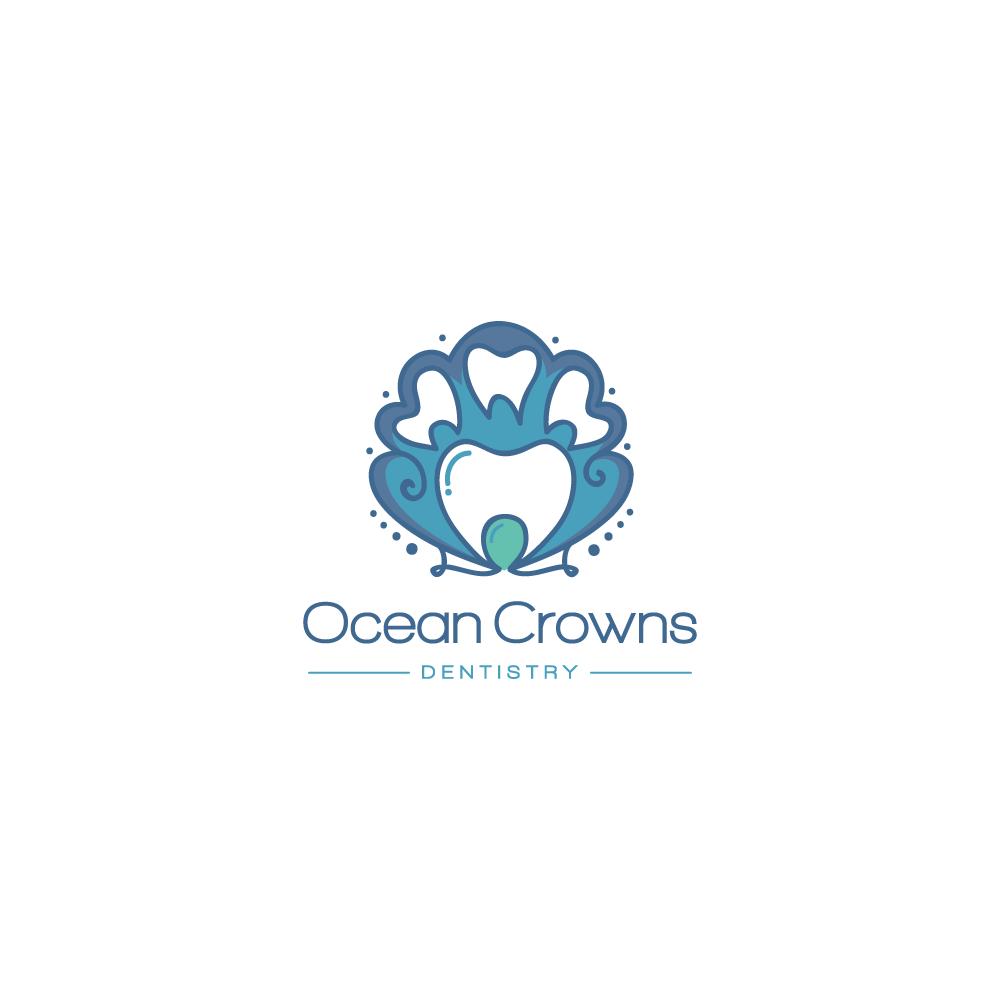 for sale ocean crown dentistry logo design logo cowboy