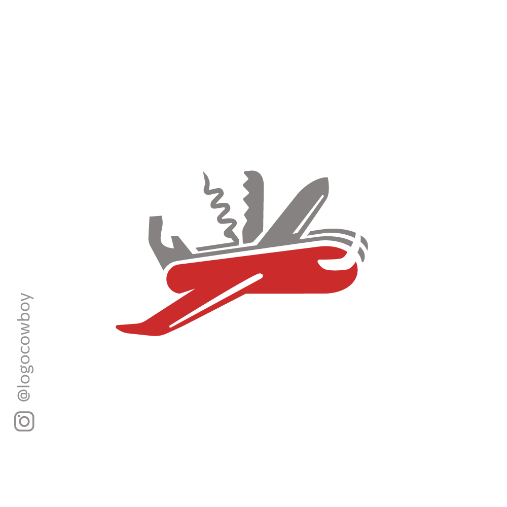 Sold Swiss Air Army Knife Plane Logo Logo Cowboy