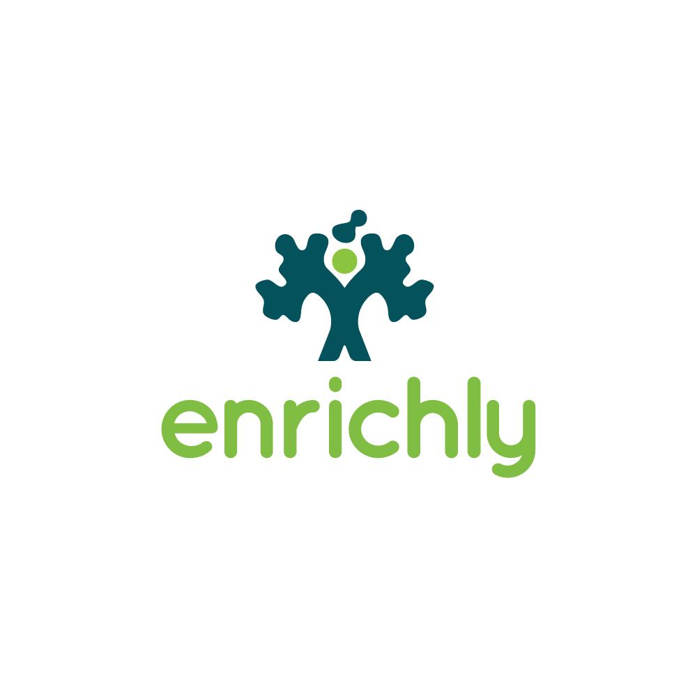 for sale enrichly tree person logo design logo cowboy